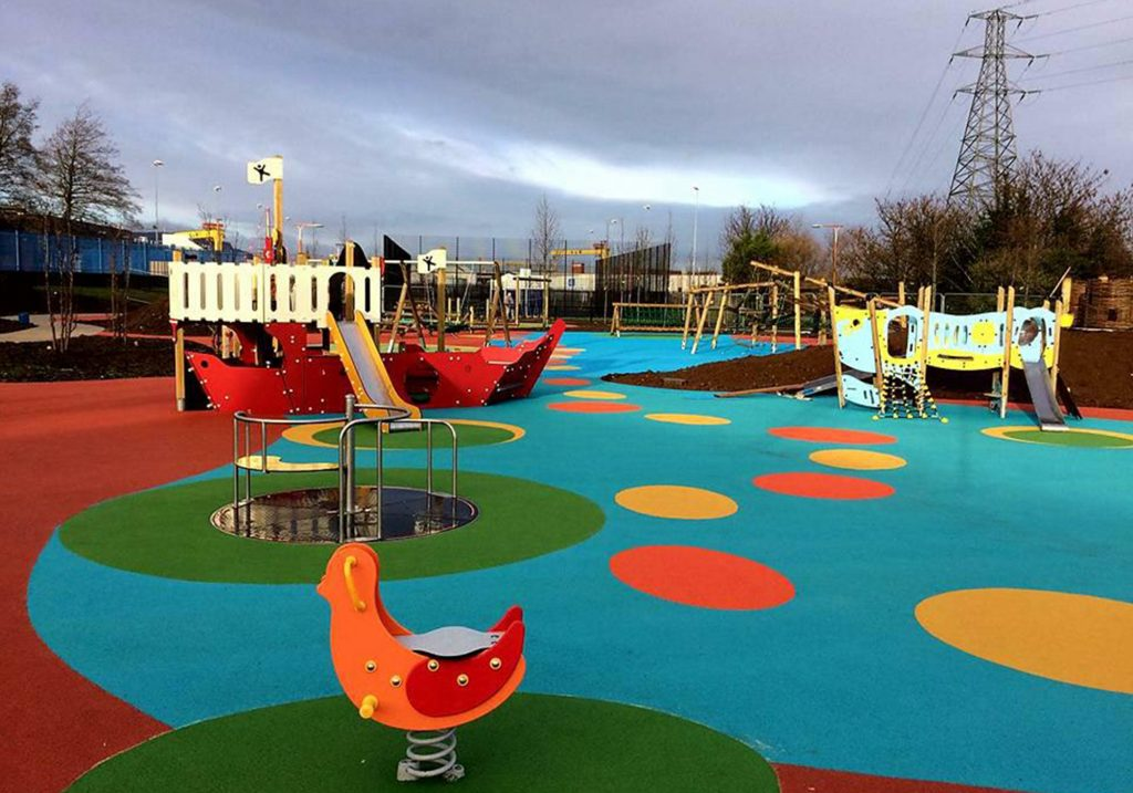 Colourful childrens outdoor play area