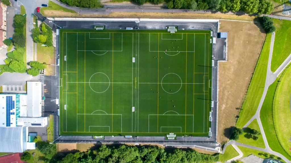 Birdseye view of large football pitches